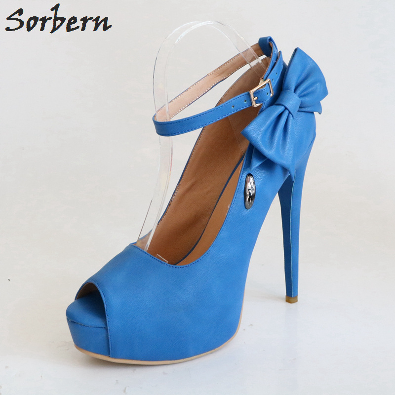 Sorbern Blue Peep Toe Ankle Strap Women Pumps Bowknot Platform High Heels Summer Style Shoes Ladies Women Heels Stiletto Heels summer women pumps small heels wedding shoes gold silver stiletto high heels peep toe women platform
