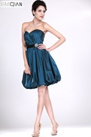 Designer A Line Sweetheart Navy Blue Taffeta Bridesmaid Dress Knee Length Wedding Party Dress