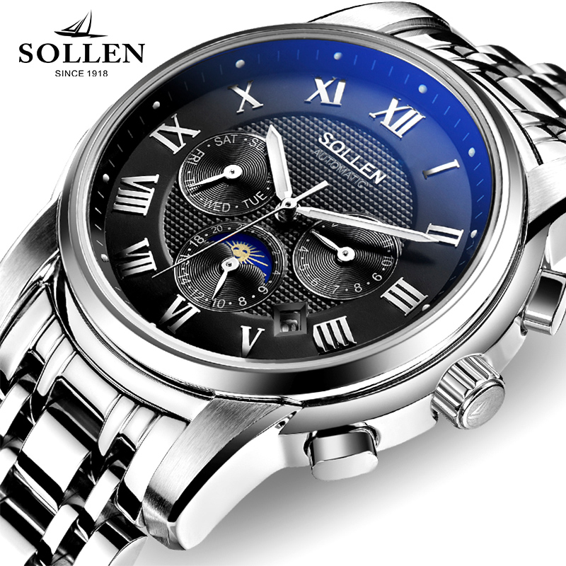 loreo design multi function automatic mechanical big watches full steel atmos army clock men s watch christmas gift with box a37 zegarki meskie SOLLEN Men Watch multi-function automatic mechanical watches clock steel waterproof hollow male wristwatches gift