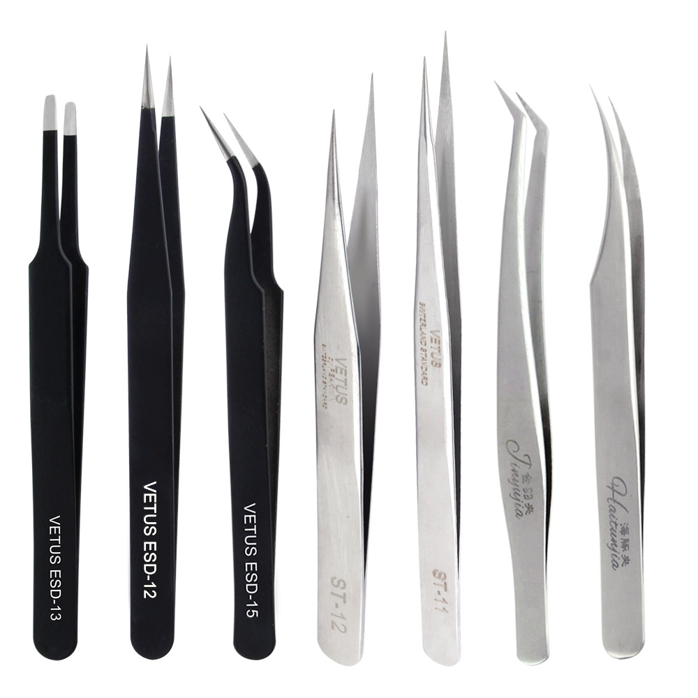 Stainless Steel Eyelash Extension Tweezers VETUS Eyelash Tweezer Non-magnetic Volume Lashes Tools Individual Eyelashes Make Up