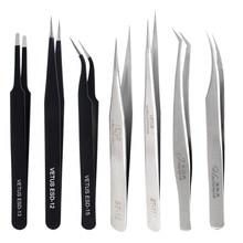 Vetus de aço inoxidável cílios extensão pinças volume individual cílios nipper granfting cílios ferramentas maquiagem profissional