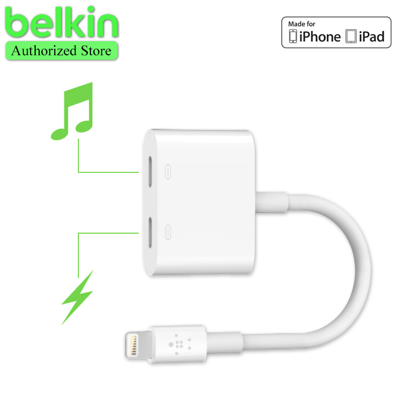 New Arrival Belkin MFi Certified 8 pin Lightning Audio Charge Rockstar Adapter Cable for iPhone 7