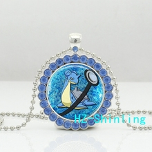 New Trendy Lapras Crystal Neckalce Pokemon Pendant Glass Pokeball Jewelry Anime Pendants Necklaces Ball Chain Gifts Femakle