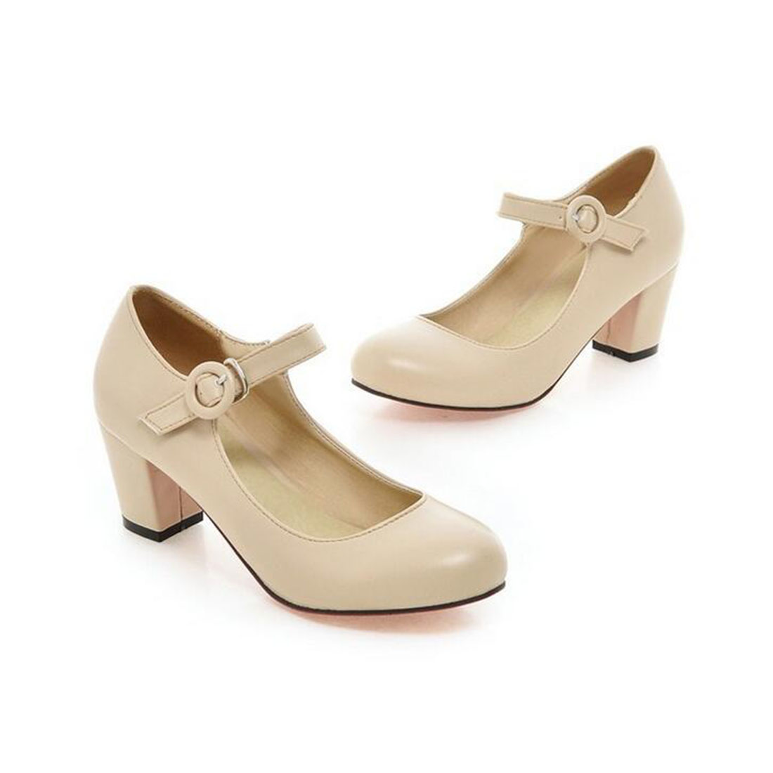 Hot sale Meotina Women Shoes Mary Jane Ladies High Heels White Wedding Shoes Thick Heel Pumps Lady Shoes Black Pink Beige