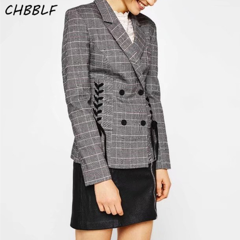 Spring new European casual plaid suit notched collar Lace up women suit blazer O8497