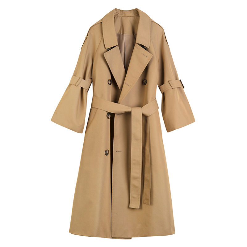 Liva girl Autumn Fashion Streetwear Ladies Double-breasted Long   Trench   Coats Classic Loose with Belt Women Fashion outerwear