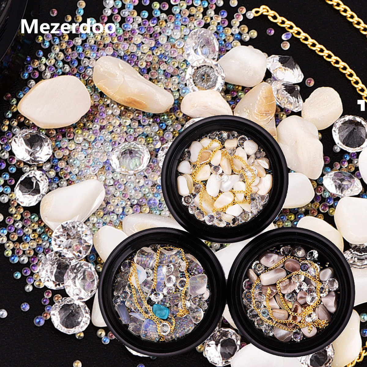 Nail Art Decorations Natural Sea Shell Stone Transparent Pearl Mermaid Jewelry Chains Mixed Beauty Manicure DIY Accessory Gift