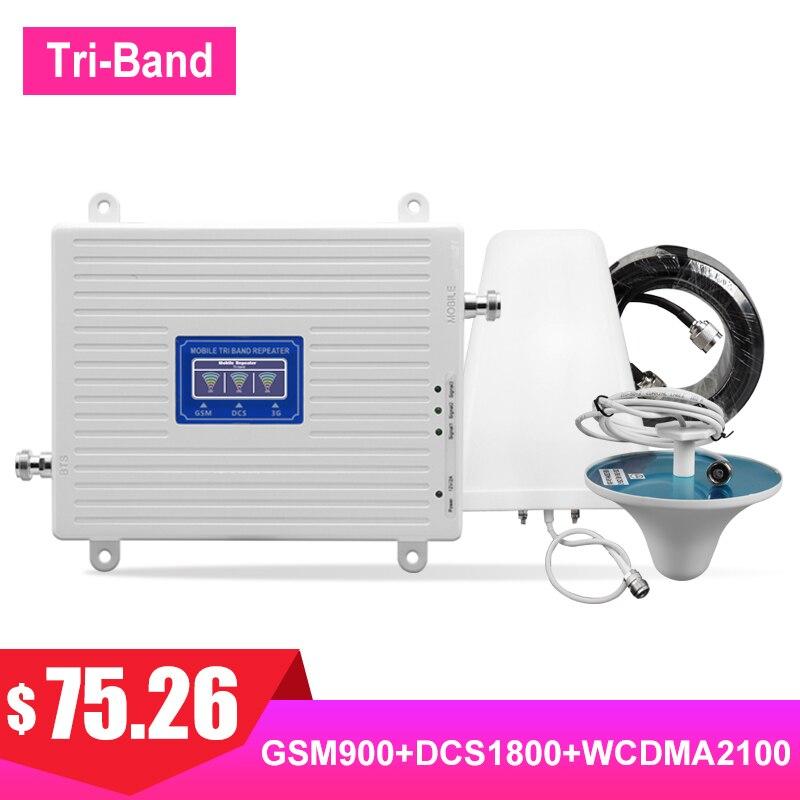 TriBand 2G 3G 4G 900 1800 2100 amplificateur de Signal cellulaire GSM DCS WCDMA LTE FDD UMTS Kit d'amplificateur de Signal de Communication Internet #