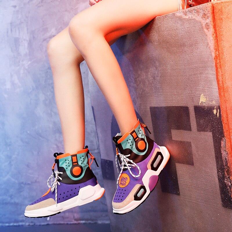 2019 chaussures en cuir véritable femmes marque de mode baskets haut dame chaussure automne femme chaussures respirant qualité
