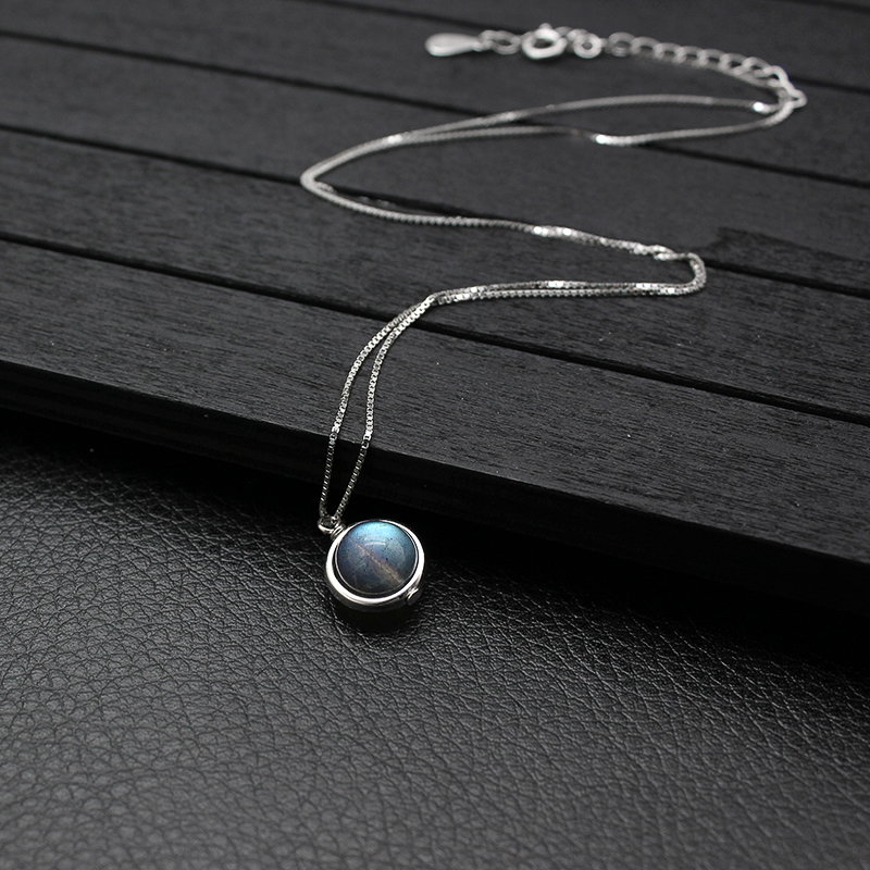 Genuine S925 Sterling Silver Labradorite Pendant Necklace For Women Fine Jewelry Nature Gemstone Handmade bijoux femme 8