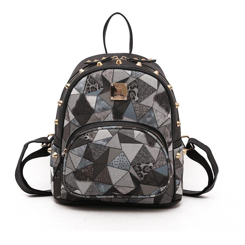 Girls Casual Backpack PU Geometric Design Backpacks Vintage Side Rivets Stud School Bag Lady Women Grey Frosted Leather Ruchsack (26)
