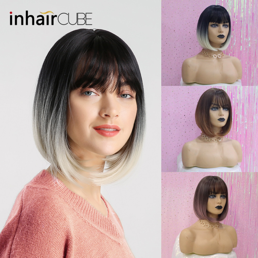 Image 3 - Inhair Cube 10 Inches Bob Synthetic Flat Bangs Women Wig Ombre with Highlight Short Straight Hair Wig  Cosplay Hairstyle-in Synthetic None-Lace  Wigs from Hair Extensions & Wigs