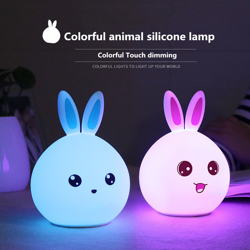LED Rabbit Colorful night light animal silicone table lamp bed decompression romantic atmosphere gift festive atmosphere wedding pinup rockabilly special retro atmosphere beautiful generous banquet hoop rabbit ear