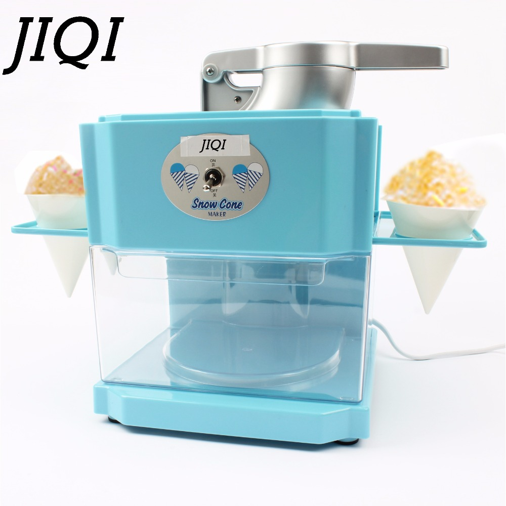 JIQI Electric Ice Crusher Shaver Snow Cone Smasher Grinder Ice cream Maker Commercial Smoothie Slushy Sand Block Break Machine jiqi household snow cone ice crusher fruit juicer mixer ice block making machines kitchen tools maker