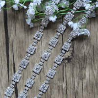 Free Shipping Wholesale 5Meters Lot Crystal Rhinestone Trim Rhinestone Applique Bridal Sash Rhinestone Chain MALI056 1