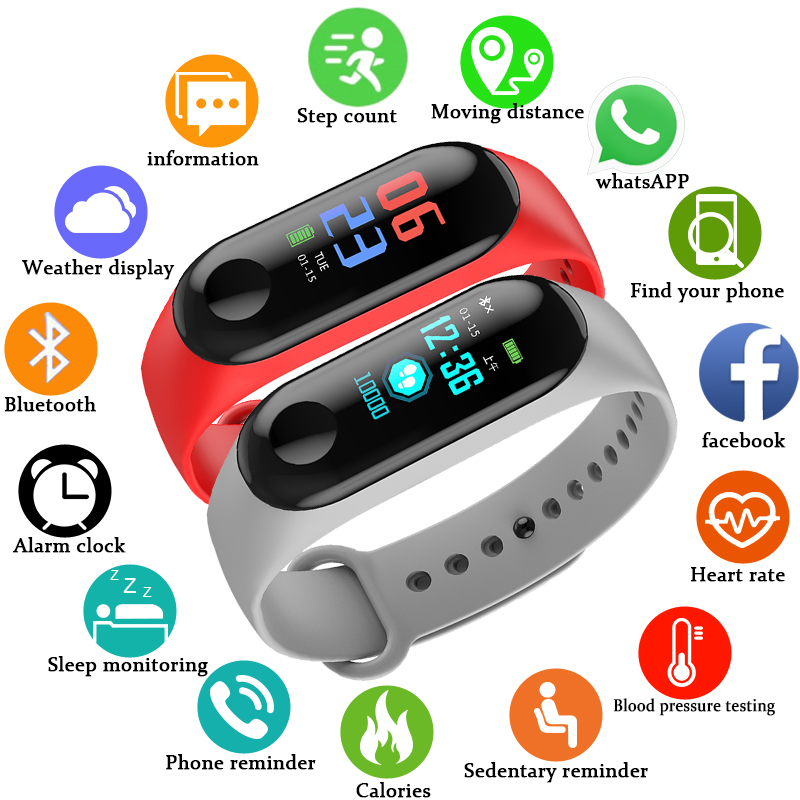 BNAGWEI 2018 New Smart Bracelet Heart Rate Monitor Bluetooth PK MiBand 3 Smart Watch Touch Screen LED Men sport watch pedometer 2018 m3 smart bracelet fitness women bracelet miband 3 large touch screen oled information heart rate time smart sport watch men