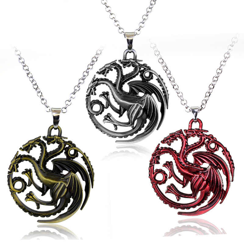 Hot Game Of Thrones Necklaces Song Of Lce And Fire Torque Targaryen Dragon Metal Pendant Women Men Choker Jewelry Accessories