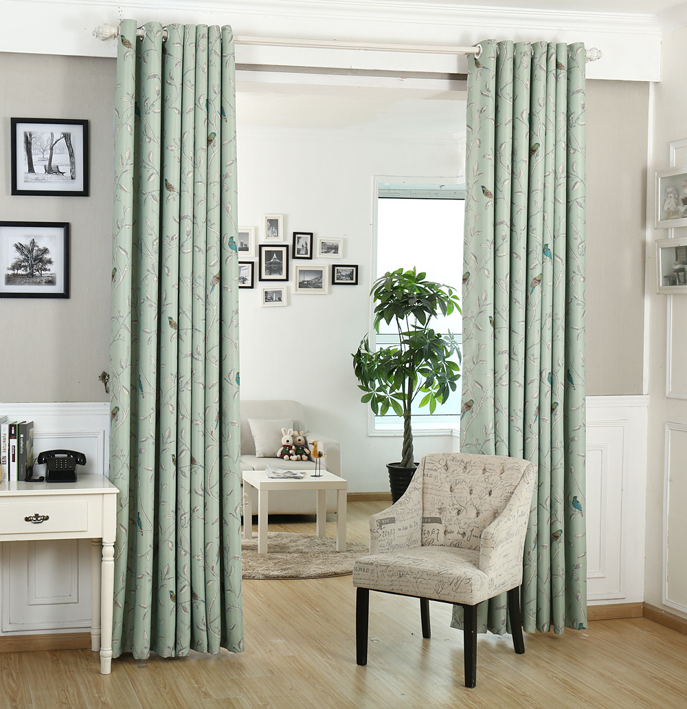 New rustic trees birds blackout curtain fabric bedroom bay window shelf  wholesale window cloth American country style