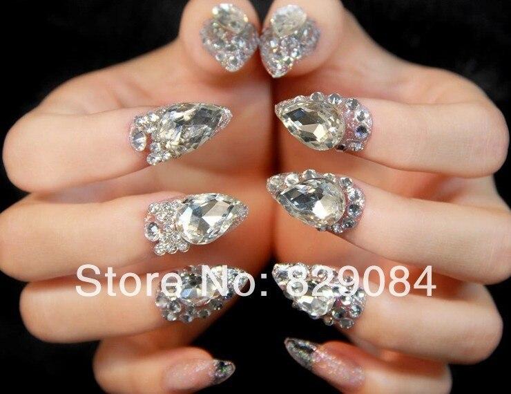 New 2014 high quality Wedding bride fake nails,bling crystal diamond ...