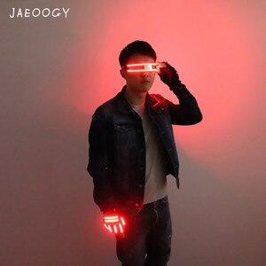 Image 5 - 送料無料 LED メガネリベットパンクメガネパーティー用品クラブの小道具ステージ衣装ハロウィン照明 LED 手袋