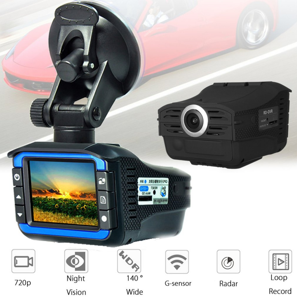 2-in-1 Radar Laser Speed Detector Car DVR Recorder 720P HD Video Dash Camera Built-in G-sensor Support Night Vision