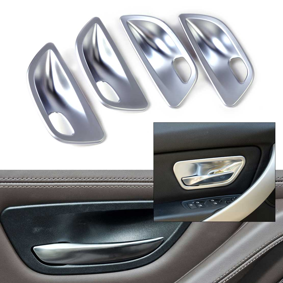 DWCX car styling ABS Chrome Interior Door Handle Cup Bowl Cover Trim for BMW 5 Series F10 Sedan 2011 2012 2013 2014 2015 2016 6pcs abs chrome interior inner door side handle bowl cover trim for 2011 2012 2013 2014 2015 2016 porsche cayenne car styling
