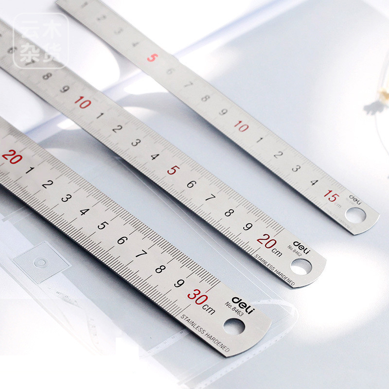 JIANWU 1pc silver 15/20/30cm High quality steel metal ruler Functional mapping toolSchool office Supplies Drawing supplies scale ruler mapping measurement of office stationery 15 20 30cm aluminium alloy ruler steel cutting ruler