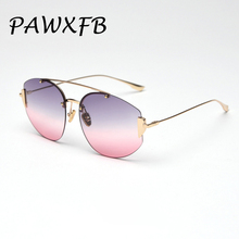 PAWXFB 2019 New Rimless Gradient Sunglasses Fashion Sun Glasses Classic Eyewear Oculos de sol