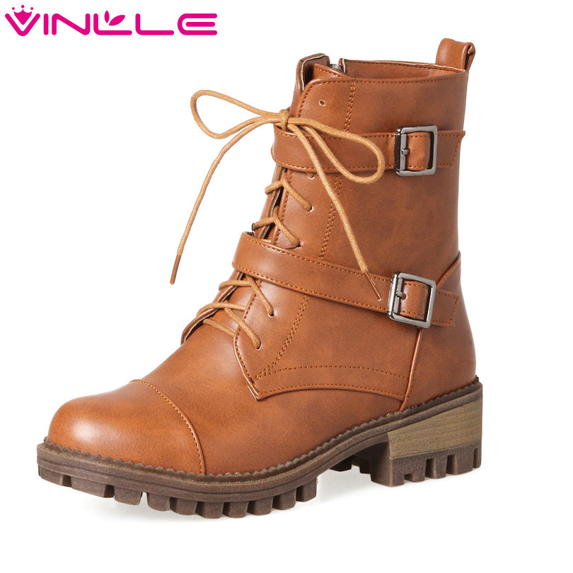 VINLLE 2018 Women Autumn Shoes Ankle Boots Western Style Lace Up Square High Heel Round Toe Ladies Motorcycle Shoes Size 34-43 vinlle 2017 women pumps college style square med heel vintage slip on pu leather shoes casual round toe girl shoes size 34 40