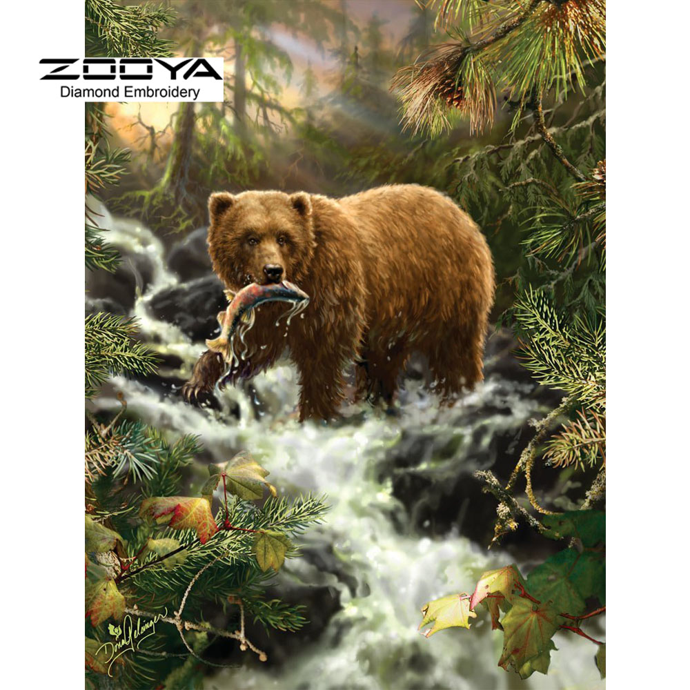 3D DIY Diamond Painting Cross Stitch Forest Bear Catch Fish Crystal Needlework Diamond Embroidery Full Diamond Decorative BJ569
