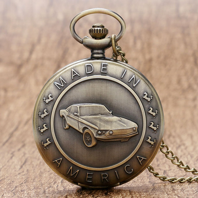 Retro Made in America 2D Car Case Design Quartz Pocket Watch With Necklace Chain