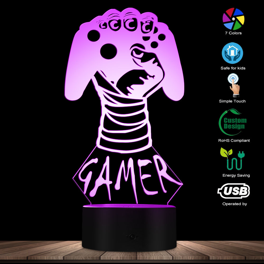 3D Retro Video Game Controller Boy Room Decorative Lighting Desk Lamp Table Lamp Personalised Custom Your Name LED Night Light