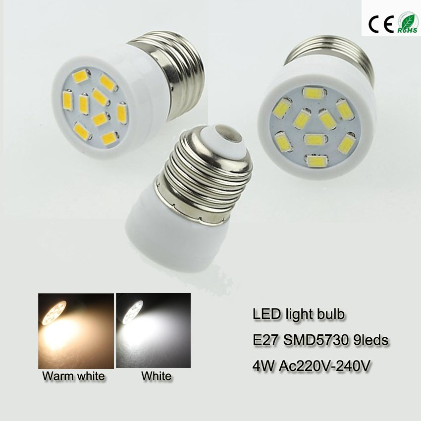5x small led bulb e27 4 Watts led bulb light smd 5730 9leds ac220v ...