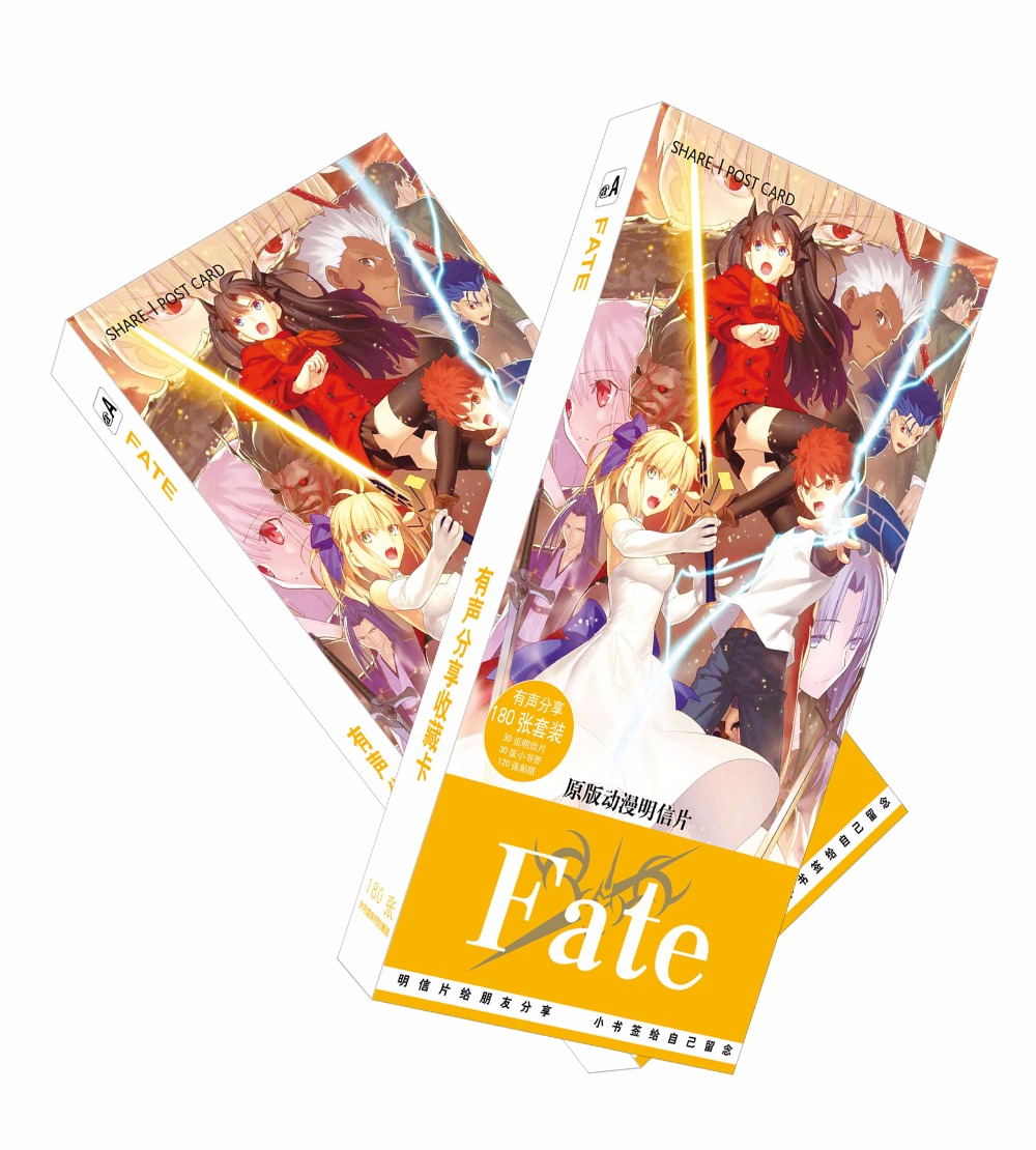180pcs/Set Japanese Anime Fate/stay Night Paper Postcard/Greeting Card/Message Card/Birthday Letter Envelope Gift Card 30pcs in one postcard take a walk on the go dubai arab emirates christmas postcards greeting birthday message cards 10 2x14 2cm