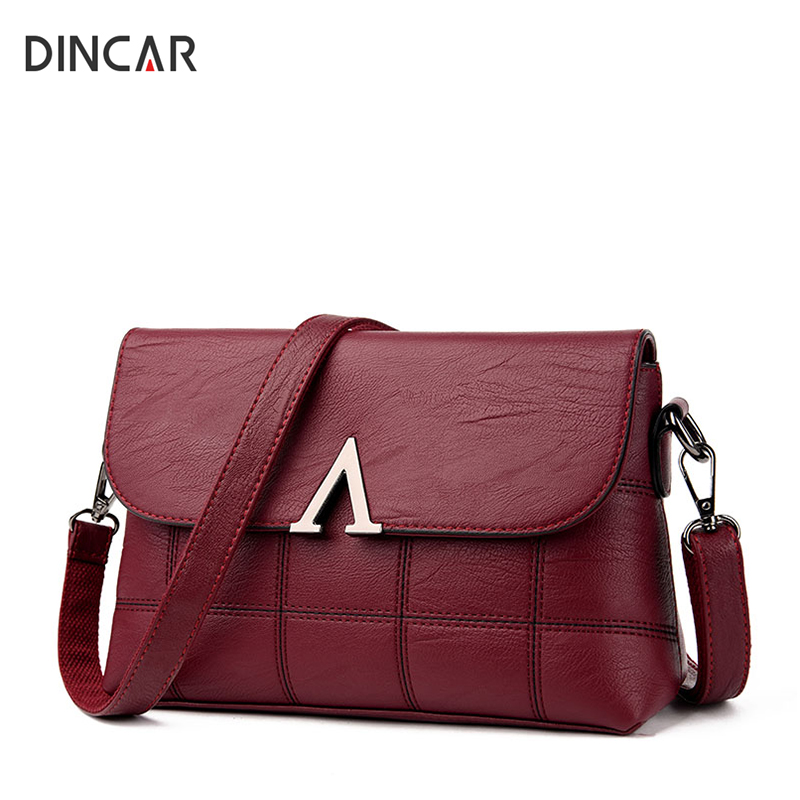 DINCAR Luxury Handbag Letter V Wome Bags Soft Pu Leather Shoulder Bag Female Thread Plaid Crossbody Messenger Bags Designer 2018