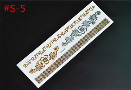 Tattoos Temporary Gold  Silver Metallic Flower Pattern Tattoos Metal Texture for Beauty Body Tattoo Wholesale