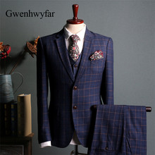 Gwenhwyfar hombres trajes 2018 azul Plaid Slim Fit (chaqueta + chaleco +  Pantalones) conjunto moderno Pantalones diseños Color s. 29065646ad7