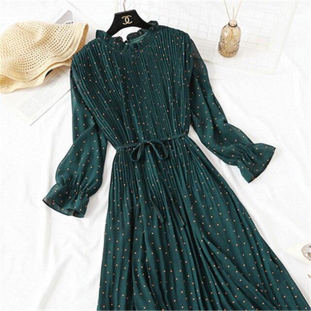 2020 Spring Summer New Hot Women Print Pleated Chiffon Dress  Fashion Female Casual Flare Sleeve Lotus leaf neck Basic Dresses86 5