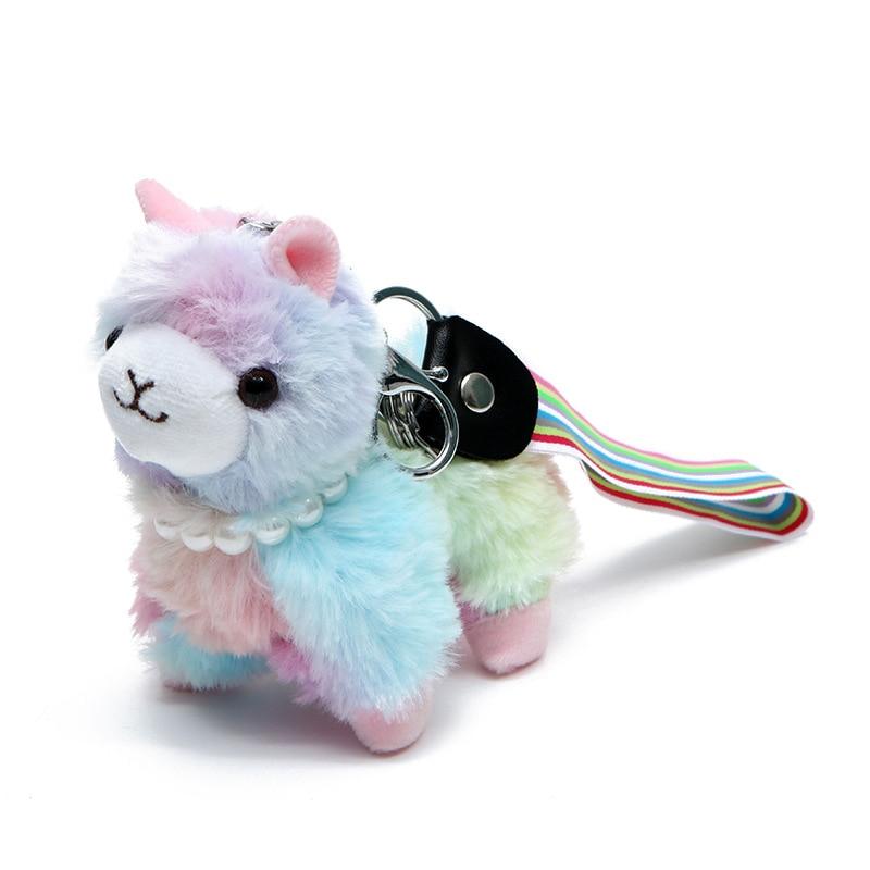 12cm Soft Cotton Rainbow Alpaca Stuffed Plush Toy Doll Rainbow Horse Lama Animals Keychain Toys