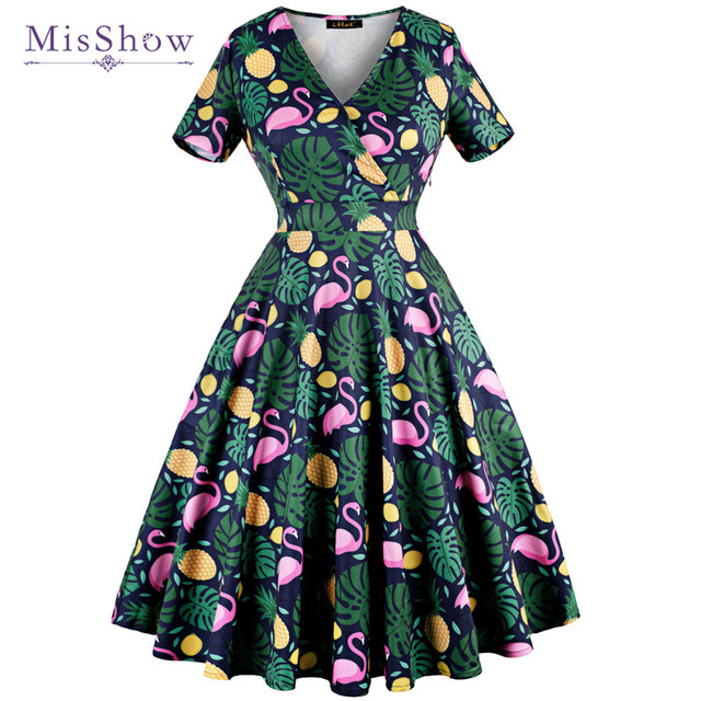 MisShow 2018 Summer Green Flamingo Printed Woman Vintage Dresses Short  Sleeve 3XL Plus Size 1950s Party V-Neck Dresses Vestidos ff6694cd92fd