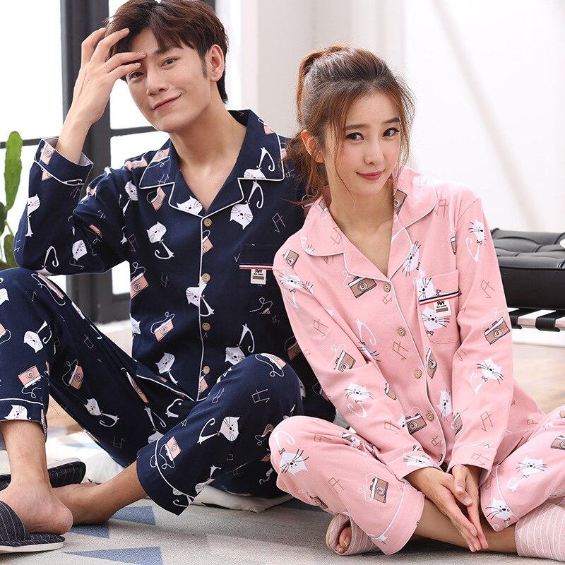 336cb4f093 Couples Pajamas Women Lovers Sleepwear Spring Autumn 100% Cotton Pajama Set  Pyjamas Men Sleep Lounge Womens Pajamas-in Pajama Sets from Underwear ...