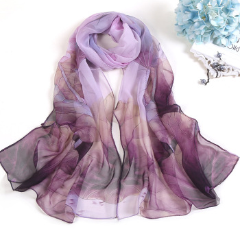 Fashion Scarves For Women Lotus Printing Long Soft Women Wrap Scarf Lady Shawl Scarves Chiffon Slik Ladies Shawl Summer Beach chic exuberant peonies and leaves pattern shawl wrap chiffon scarf for women
