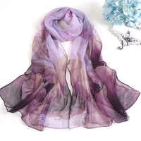 Fashion Scarves For Women Lotus Printing Long Soft Women Wrap Scarf Lady Shawl Scarves Chiffon Slik Ladies Shawl Summer Beach