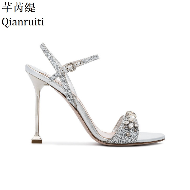 Qianruiti Silver Sequins Crystal Stiletto Heel Women Sandals Open Toe High Heels Bridal Shoes Buckle Strap Slingback Women Pumps