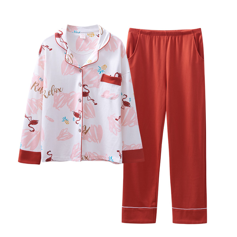 Flamingo print women   pajamas     set   plus size   pajamas   cotton turn-down collar full length button home wear women red PHOENTIN FG025