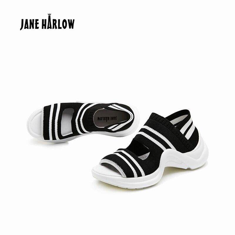 Ayakk.'ten Orta Topuklu'de 2019 Yaz Yeni Rahat Kama Kadın Ayakkabı Kadın Sandalet Streç Kumaş Dikiş Renk Rahat Serin Giyim Hafif Sandalet'da  Grup 2