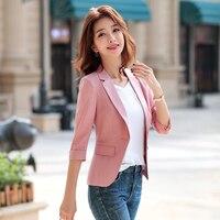 YASUGUOJI New 2019 Office Lady Solid Three Quarter Sleeve Blazer Women Slim Fit Women Pink Formal Blazer Work White Linen Blazer