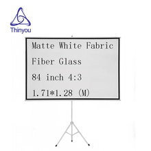 Thinyou 84 inch 4:3 projector screen Matte White Fabric Fiber Glass Tripod Portable Pull Up Stable stand Bracket Screen