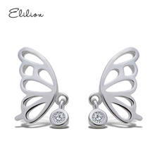 Stud Earrings Fashion Jewelry 925 Silver Women Butterfly Trendy Girls Elegant Silver 1 Pair Romantic Earring ELILION J15ED801575(China)