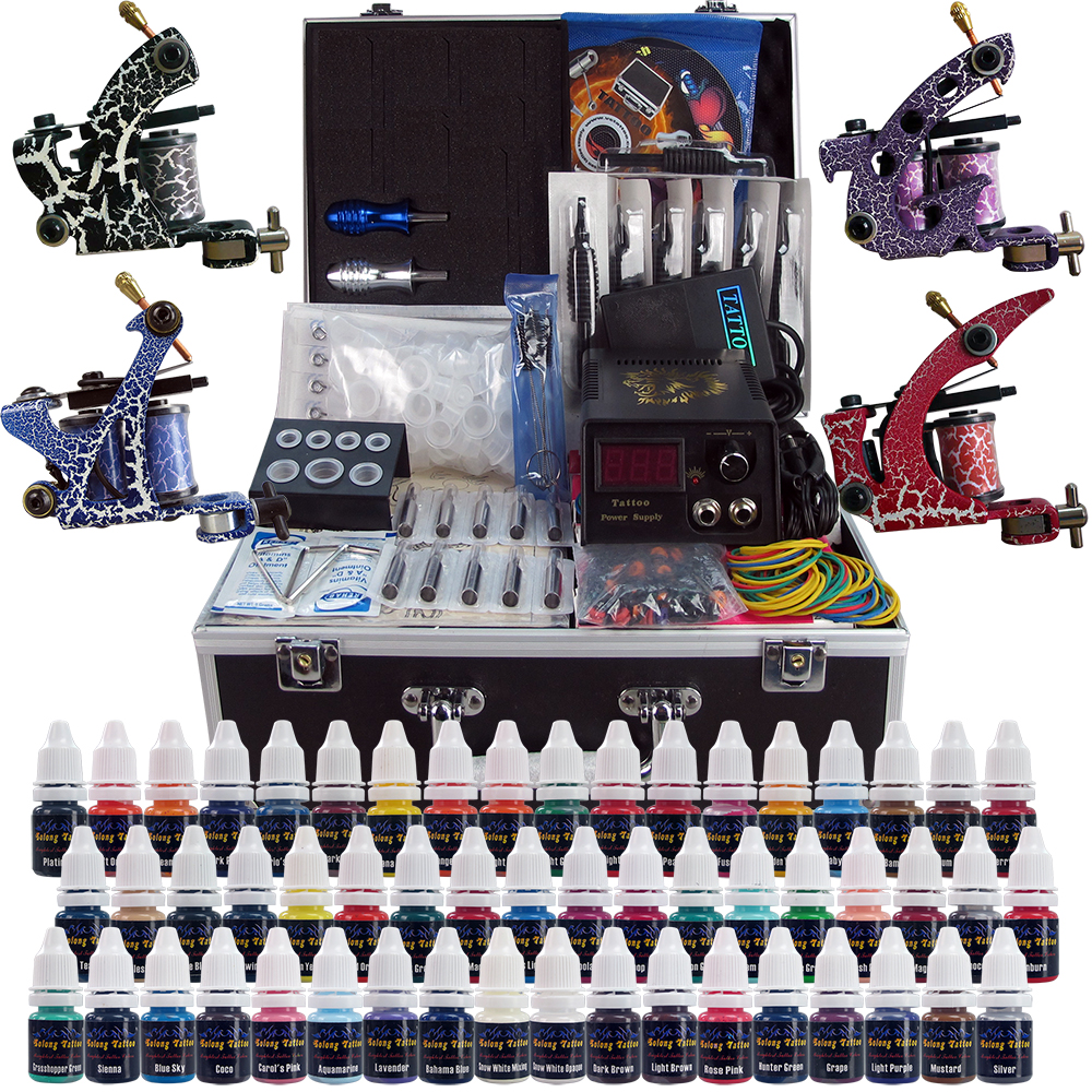 Complete Tattoo Kit 4 Professional Tattoo Machine Kit Coil Machine Guns 54 Inks Power Supply Needle Grips US Warehouse in Stock professional tattoo kit 5 guns complete machine equipment sets teaching cd ink for beginners body art beauty tools tk 2509 m